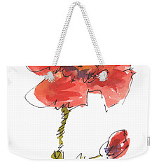 Red Poppy And Pal Weekender Tote Bag by Kathleen McElwaine
