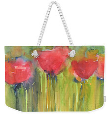 Red Poppy Elegance Weekender Tote Bag by Kathleen McElwaine