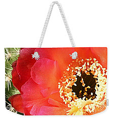 Red Prickly Pear Blossom Weekender Tote Bag