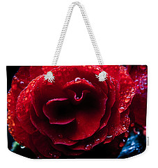 Weekender Tote Bag featuring the photograph Red Rain by Glenn DiPaola