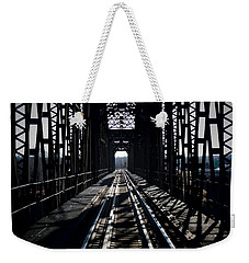 Weekender Tote Bag featuring the photograph Red River Rail Road Crossing by Diana Mary Sharpton