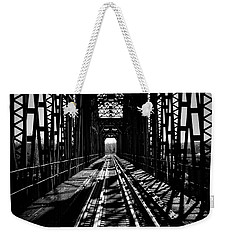 Red River Rail Road Crossing In Bw Weekender Tote Bag by Diana Mary Sharpton