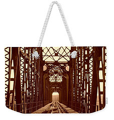 Weekender Tote Bag featuring the photograph Red River Train Bridge #1 by Robert ONeil