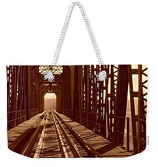Weekender Tote Bag featuring the photograph Red River Train Bridge #2 by Robert ONeil