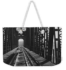 Weekender Tote Bag featuring the photograph Red River Train Bridge #3 by Robert ONeil