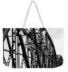 Weekender Tote Bag featuring the photograph Red River Train Bridge #4 by Robert ONeil