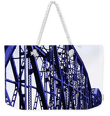 Weekender Tote Bag featuring the photograph Red River Train Bridge #5 by Robert ONeil