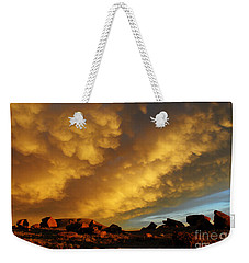Weekender Tote Bag featuring the photograph Red Rock Coulee Sunset by Vivian Christopher