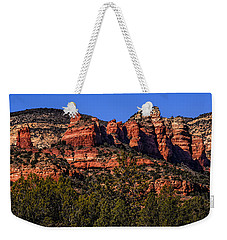 Weekender Tote Bag featuring the photograph Red Rock Sentinels by Mark Myhaver
