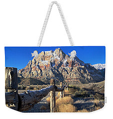 Weekender Tote Bag featuring the photograph Red Rock Snow by Alan Socolik