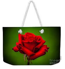 Red Rose Green Background Weekender Tote Bag