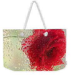 Red Rose In The Rain Weekender Tote Bag by Don Schwartz