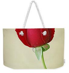 Red Rose On White Weekender Tote Bag by Sandy Keeton