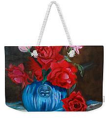 Red Roses And Blue Vase Weekender Tote Bag