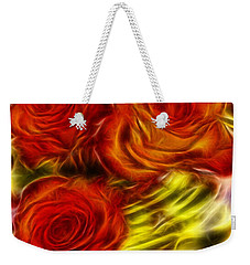 Weekender Tote Bag featuring the painting Red Roses In Water - Fractal  by Lilia D