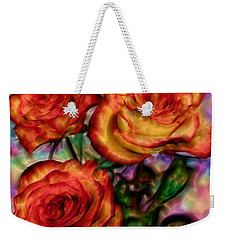 Weekender Tote Bag featuring the digital art Red Roses In Water - Silk Edition by Lilia D