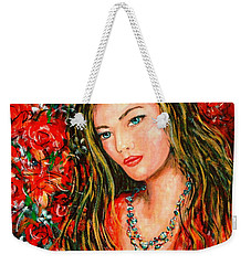 Red Roses Weekender Tote Bag by Natalie Holland