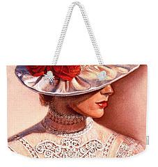Red Roses Satin Hat Weekender Tote Bag