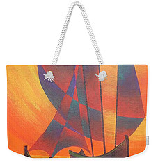 Weekender Tote Bag featuring the painting Red Sails In The Sunset by Tracey Harrington-Simpson