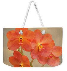 Red Scarlet Orchid On Grunge Weekender Tote Bag
