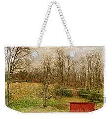 Red Shed Weekender Tote Bag by Paulette B Wright