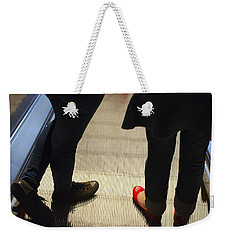 Red Shoe On Escalator Weekender Tote Bag