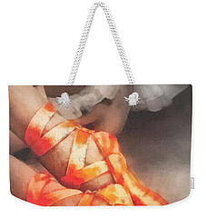 Red Shoes Weekender Tote Bag by Mo T