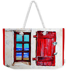 Red Shutter Ocean Weekender Tote Bag by Jackie Carpenter