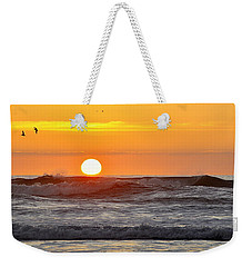 Red Sky At Night Sailors  Delight Weekender Tote Bag by AJ  Schibig