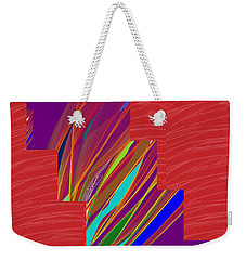 Weekender Tote Bag featuring the photograph Red Sparkle And Blue Lightening Across by Navin Joshi