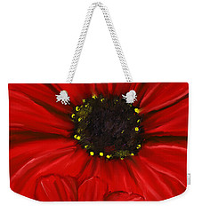 Red Spectacular- Red Gerbera Daisy Painting Weekender Tote Bag by Lourry Legarde