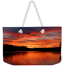 Red Sunset Reflections Weekender Tote Bag by Denyse Duhaime