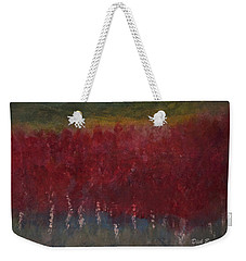 Red Trees Watercolor Weekender Tote Bag by Dick Bourgault