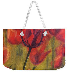 Weekender Tote Bag featuring the painting Red Tulips by Donna Tuten