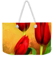 Red Tulips Triptych Section 2 Weekender Tote Bag by Lourry Legarde