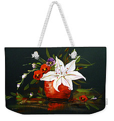 Red Vase With Lily And Pansies Weekender Tote Bag by Dorothy Maier