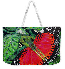Weekender Tote Bag featuring the painting Red Butterfly by Debbie Chamberlin