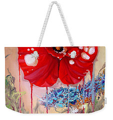 Weekender Tote Bag featuring the painting Red Weed Red Poppy by Daniel Janda
