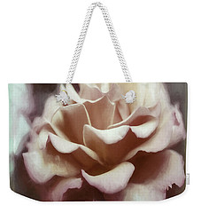 Weekender Tote Bag featuring the photograph Red White Rose by Jean OKeeffe Macro Abundance Art