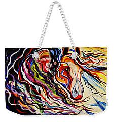 Red Wind Wild Horse Weekender Tote Bag by Janice Rae Pariza