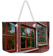 Weekender Tote Bag featuring the photograph Red Windows Paned by Christiane Hellner-OBrien