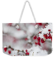 Red Winter Berries Under Snow Weekender Tote Bag