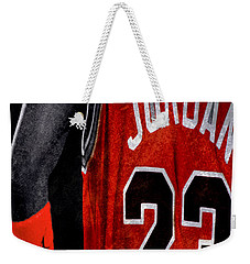 Weekender Tote Bag featuring the digital art Red Wrist Band by Brian Reaves