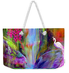 Waterfall And White Peacock, Redbud Falls Weekender Tote Bag