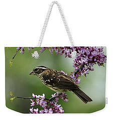 Redbud With Grosbeak Weekender Tote Bag