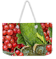 Redcurrant Parakeet Weekender Tote Bag by Ditz