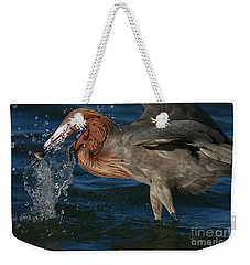 Weekender Tote Bag featuring the photograph Reddish Egret Splash by John F Tsumas