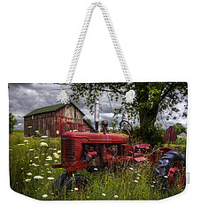 Reds In The Pasture Weekender Tote Bag by Debra and Dave Vanderlaan