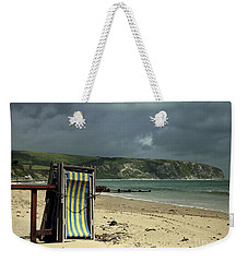 Weekender Tote Bag featuring the photograph Redundant Deck Chairs by Linsey Williams