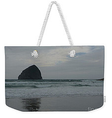 Weekender Tote Bag featuring the photograph Reflection Of Haystock Rock  by Susan Garren